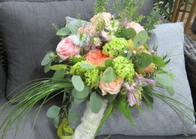 Bouquet rose orange vert